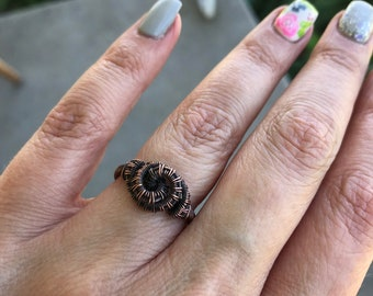 Copper wire wrapped ring- bohochic -artisan jewelry - one of a kind