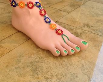 Multi colored flower barefoot sandal