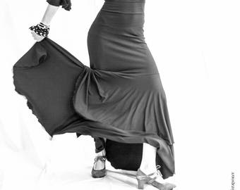 flamenco black or colour  stretch skirt with 2 ruffles