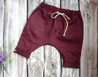 Baby harem pants. Baby pants harem. Natural linen trousers. linen harems