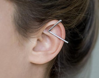 Sterling Silver Geometric Ear Cuff with Cubic Zirconia.