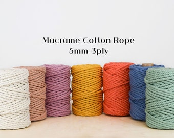 GANXXET MACRAME COTTON Rope - 5 mm 3PLY ; Recycled Cotton Rope ;macrame cord ; cotton macrame; macrame cotton cord, 5mm 3 strand