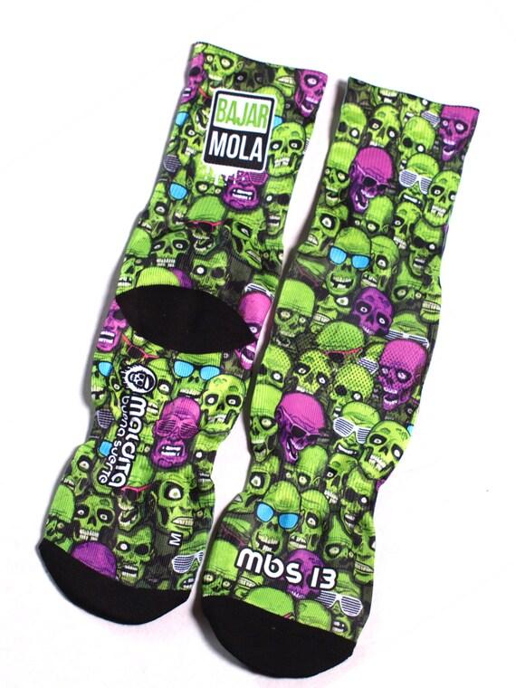MBS Socks 13 Green Skulls