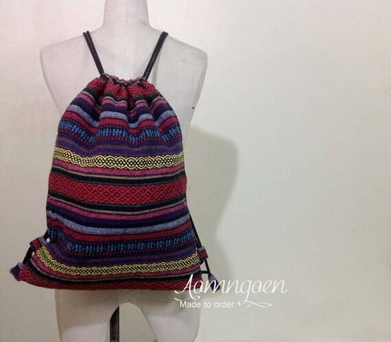 Cordon de serrage mexicain Style sac à dos taille différente sac à dos Amérindien Indien Inca aztèque Tribal sport sac Boho Hippie Gypsy