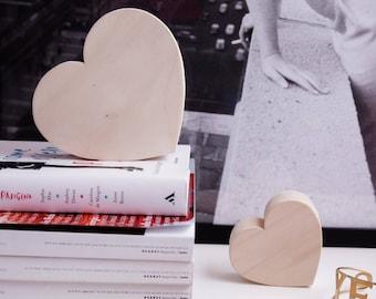 Natural wooden hearts