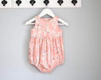 Pandalicious pink cherry blossom baby girls Romper / Onesie / Playsuit