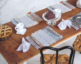 Dollhouse Miniature 1:12 Table Placemat, Artisan Modern Farmhouse Doll House Fairy Kitchen Rustic Woven Gray White Rust Dining Table Mat
