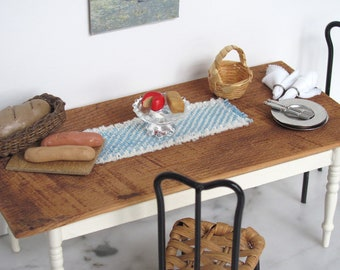 Dollhouse Miniature Table Runner, 1:12 Artisan Furniture Dining Kitchen Beach Cottage Rustic Country Farmhouse Woven Blue White Table Linens