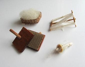 1:12 Scale Miniature Dollhouse Wool Hand Spinning Set, Primitive Rustic Farmhouse Historical Textile Studio Roombox Yarn Fiber Artist Gift