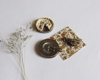 Dollhouse Miniature Napkins, Kitchen Picnic Dining Table Linens, 1:12 Scale Artisan Doll House Fairy Furniture Rustic Woodland Brown Floral