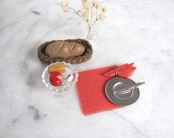 Dollhouse Miniature Napkins, Kitchen Picnic Dining Table Linens, 1:12 Scale Artisan Doll House Furniture Rustic Fall Harvest Pumpkin Orange