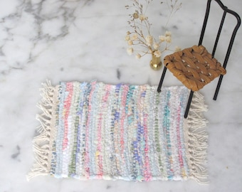 Dollhouse Miniature Kitchen Rag Rug, 1:12 Scale Artisan Doll House Furniture Country Rustic Farmhouse Cottage Cabin Collector Hand Woven Rug