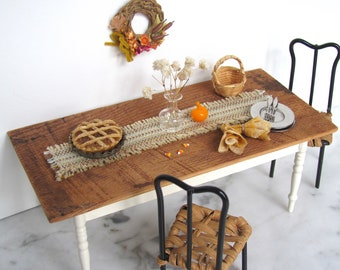 Dollhouse Miniature Table Runner, 1:12 Artisan Doll House Rustic Modern Farmhouse Country Autumn Harvest Dining Thanksgiving Kitchen Decor