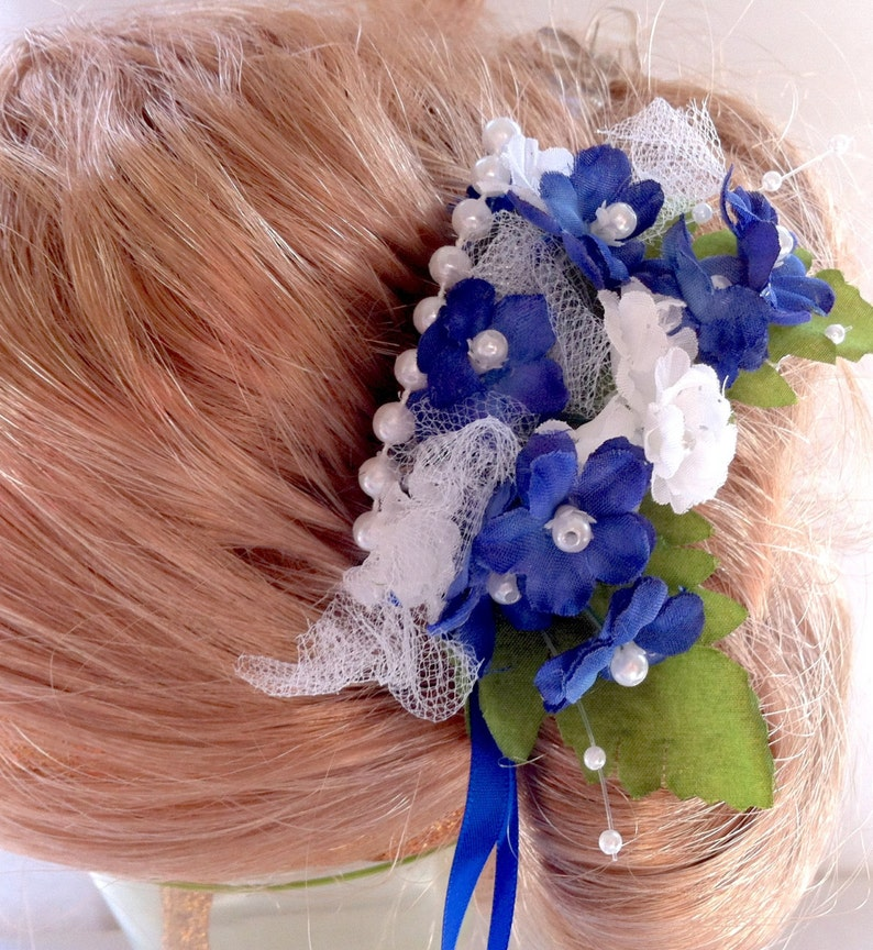 Bridesmaid Floral Hair Comb Bride Mother of the Bride or Groom Hair Comb Peice Wedding Dance Accessory Blue White Cobalt Royal P-Lucy