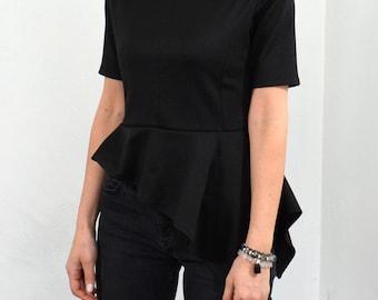 Asymmetric peplum top/ Short sleeve black peplum blouse. Express shipping with DHL!