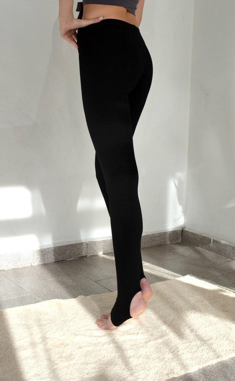 da7733120b9812 High waisted leggings with heel hole/ High waist black | Etsy