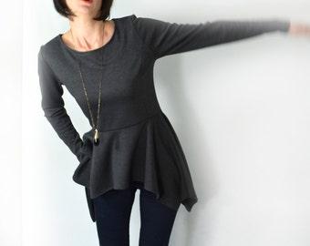 Peplum top/ Long sleeve grey peplum blouse. Express shipping with DHL!