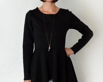 Peplum top/ short or long sleeve black peplum blouse.