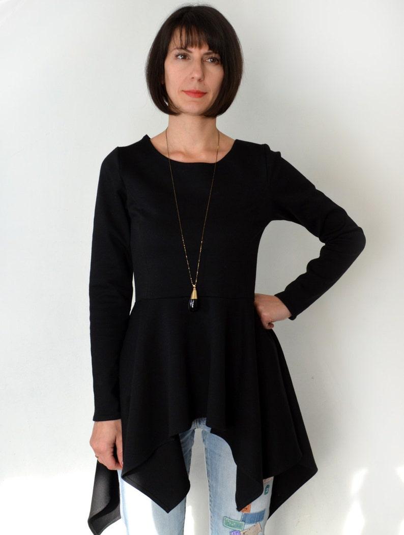 Long Sleeve Black Peplum Dress