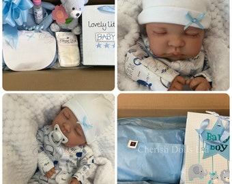 "Childrens Reborn Starter Baby Box Opening Brad 18"" 2lb 2oz New UK Baby Boy Sewn In Limbs Sleeping"