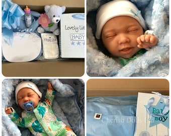 "Childrens Reborn Starter Baby Box Opening Nial 18"" 2lb 2oz New UK Baby Boy Sewn In Limbs Sleeping"