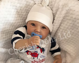 """Reborn baby doll boy Jack newborn 22"""" size rooted eyelashes real realistic my fake baby childrens weighted open eyes"""