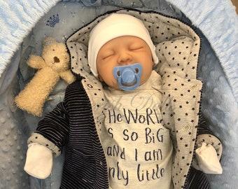 "Reborn baby boy Jay 22"" newborn size 3/4 limbs painted hair real realistic sleeping baby doll my fake baby"