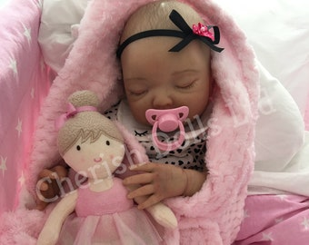 """Reborn baby doll girl Beth newborn 22"""" size rooted eyelashes real realistic my fake baby childrens painted hair weighted"""