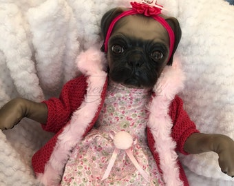 Reborn baby doll girl Princess pug dog puppy doll real realistic my fake baby childrens cheap doll