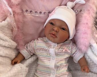 "Childrens Reborn Starter Baby Pippa 18"" 2lb 2oz New UK Baby Girl Sewn In Limbs Blue Eyes"