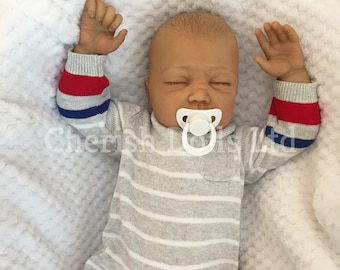 """Reborn baby doll boy Marcus newborn 22"""" size rooted eyelashes real realistic my fake baby childrens cheap doll mixed race brown skin tone"""