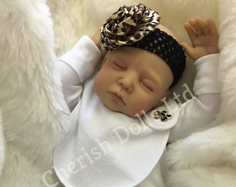 "Reborn doll girl 22"" Aria 4lb 4oz newborn size rooted eyelashes 3/4 limbs real realistic my fake baby uk sleeping"