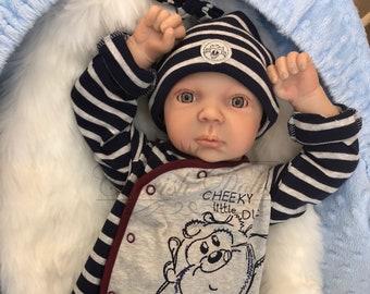 "Reborn baby boy Wide Awake Jay 22"" newborn size 3/4 limbs real realistic sleeping baby doll my fake baby uk"
