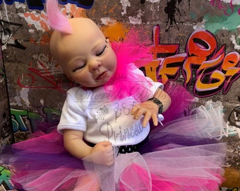 "Reborn Pop Punk Baby doll girl Ariana 16"" size 3/4 limbs real realistic my fake baby cheap lifelike 2lb 8oz"