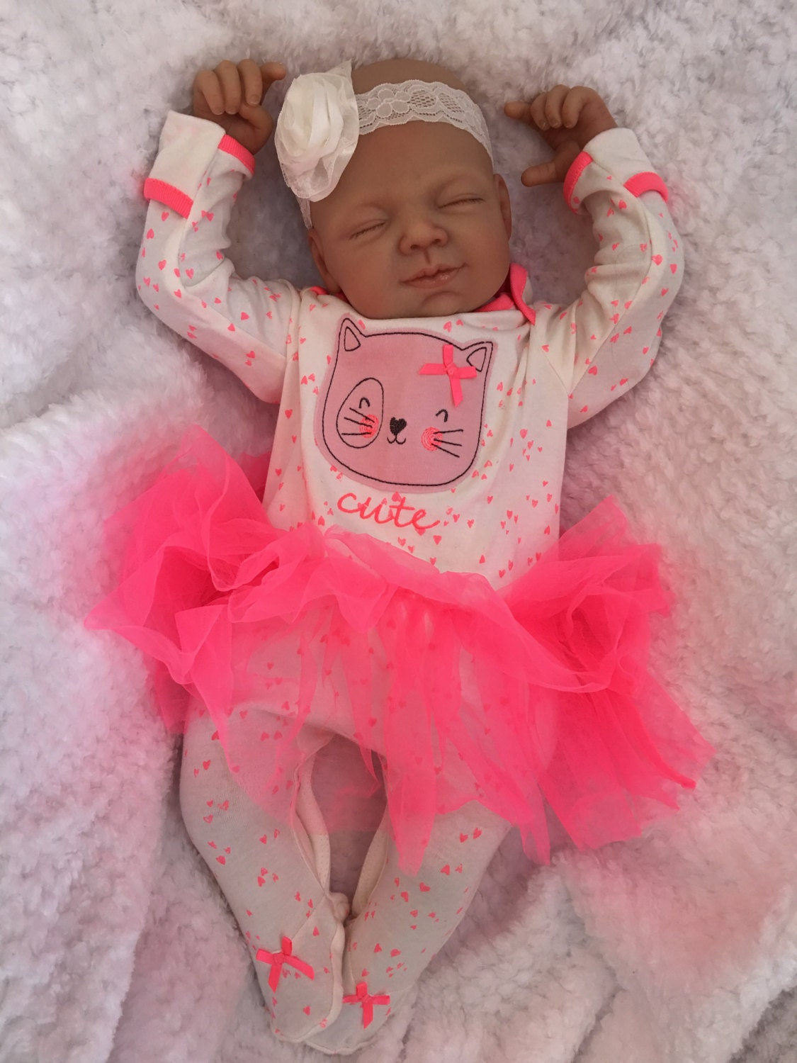 Reborn baby doll girl Amber big newborn 22 size rooted   Etsy