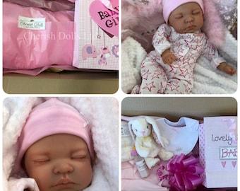 "Childrens Reborn Starter Baby Box Opening Kitty 18"" 2lb 2oz New UK Baby Girl Sewn In Limbs Sleeping"
