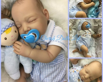 """Reborn baby boy Charlie  22"""" newborn size 3/4 limbs painted hair real realistic sleeping baby doll my fake baby"""