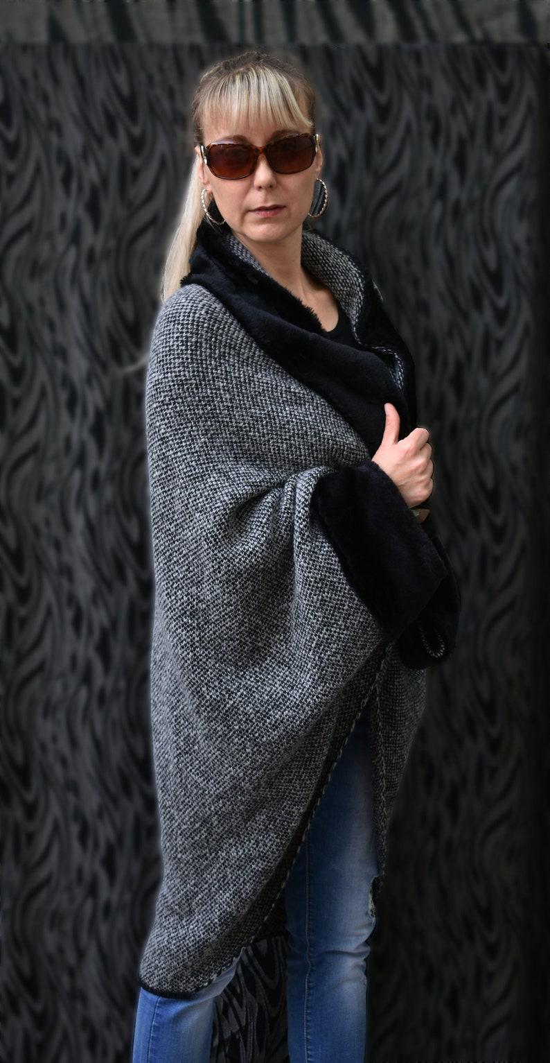 Women Knitt Mohair Wool  Cardigan Poncho Sweater Oversized Asymmetric Coat Top  Melange