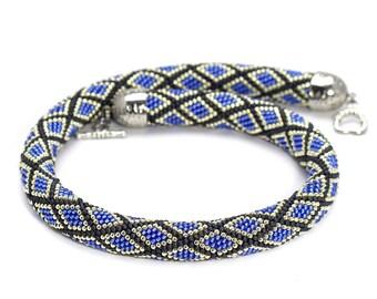Bead-crochet-necklace Bead-crochet-rope Choker-necklace Beaded crochet jewelry Seed bead necklace Gift for women Beadwork necklace