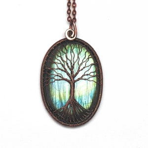Terra/'s Blessings Labradorite Wire Wrapped Tree of Life Pendant  Copper Wrapped Pendant Jewelry Celtic Witchy Boho Inspired