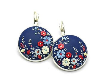 Floral-earrings Gift-for-girlfriend Gift-for-her Polymer Clay Earrings Polymer Clay Jewelry Fashion Jewelry Clay jewelry Clay applique