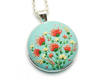 Gift-for-women Gift-for-bride Boho-jewelry Flower necklace Boho necklace Embroidery pendant Romantic-gift Floral Pendant Gift-for-her