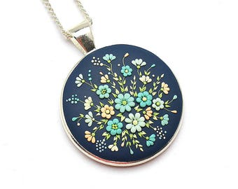 Blue Polymer Clay Necklace Pendant Fashion Jewelry Polymer Clay Jewelry Gift Floral Pendant Necklace Polymer Clay Applique Clay Embroidery