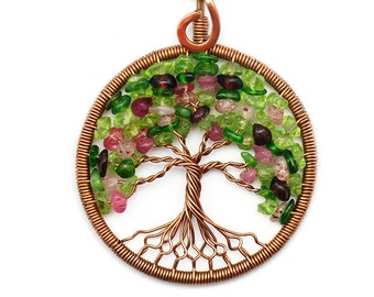 Tree-Of-Life Necklace Pendant Tree-Of-Life Jewelry Family Tree Copper Pendant Wire Tree Of Life Wire Wrapped Pendant Multicolor Pendant