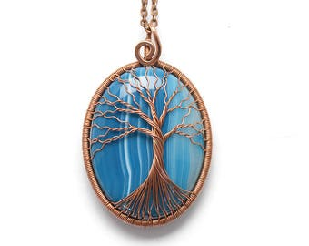 Tree-Of-Life Necklace Pendant Tree-Of-Life Jewelry Copper Pendant Wire Tree-Of-Life Wire Wrapped Pendant Agate Pendant Blue Pendant