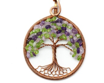 Amethyst necklace Amethyst pendant Peridot necklace Copper tree-of-Life pendant Tree-of-Life Necklace Wire wrapped jewelry Exclusive gift
