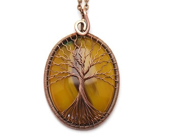 Gift-for-women Gift-for-mom Agate-jewelry Agate-pendant Wire Wrapped Pendant Tree-Of-Life Necklace Pendant Copper Pendant Wire Tree-Of-Life
