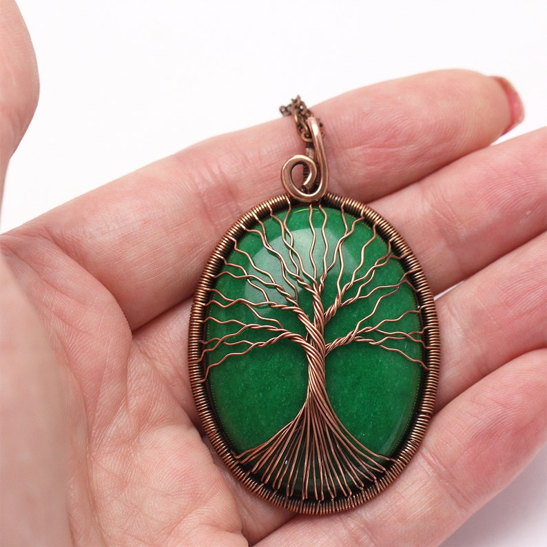 Jade Pendant Necklace Tree-of-Life Necklace Pendant Wire Wrapped Necklace Good Luck Charm Necklace Gift For Men Gift For Dad Gift For Women