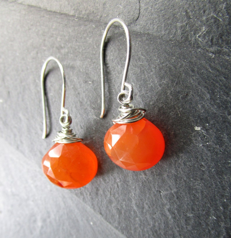 6b57f4110 Orange and Silver Dangle Earrings Carnelian Semi-Precious   Etsy