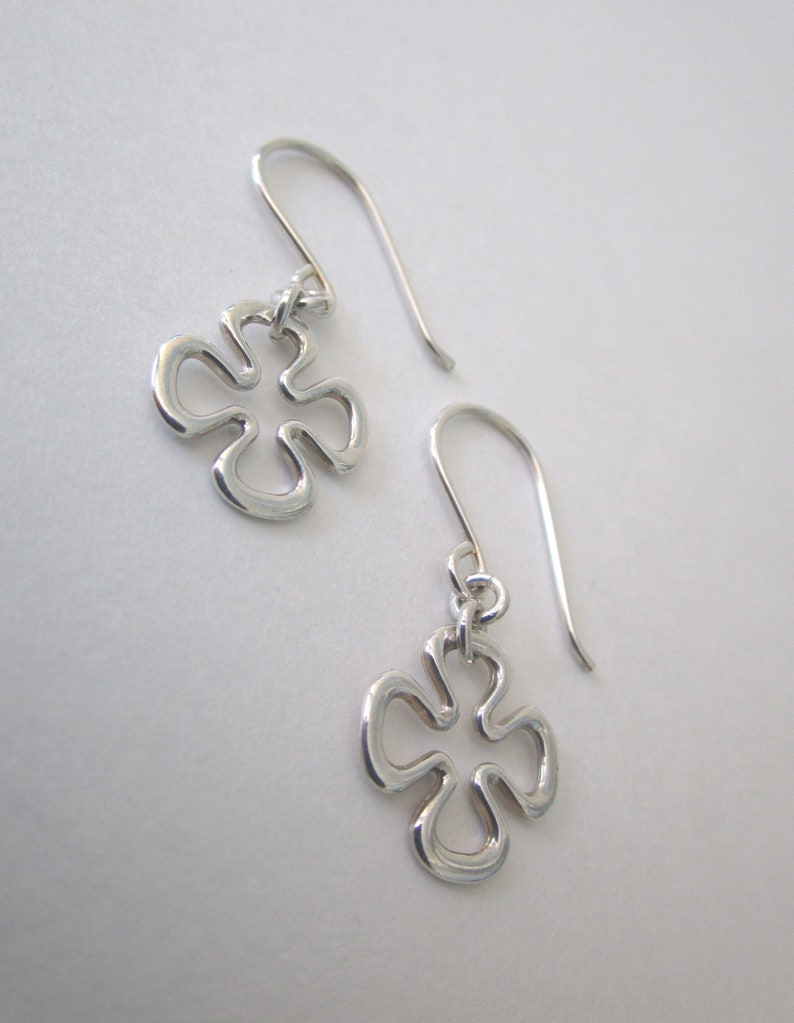792969190 Small Sterling Silver Clover Dangle Earrings Dainty Four Leaf   Etsy